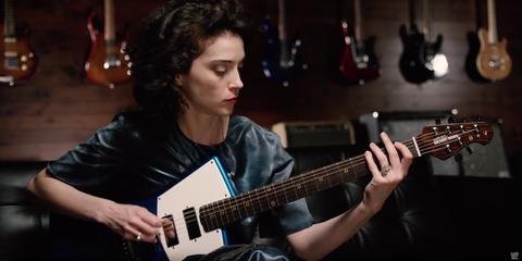 Annie Clark plays the St. Vincent guitar