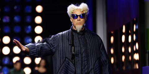 Will Ferrell, dressed as Mugatu from Zoolander 2, walks a runway