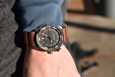 Brown, Analog watch, Watch, Wrist, Joint, Watch accessory, Fashion accessory, Fashion, Denim, Everyday carry,