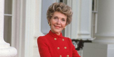 Nancy Reagan smiles on the White House balcony