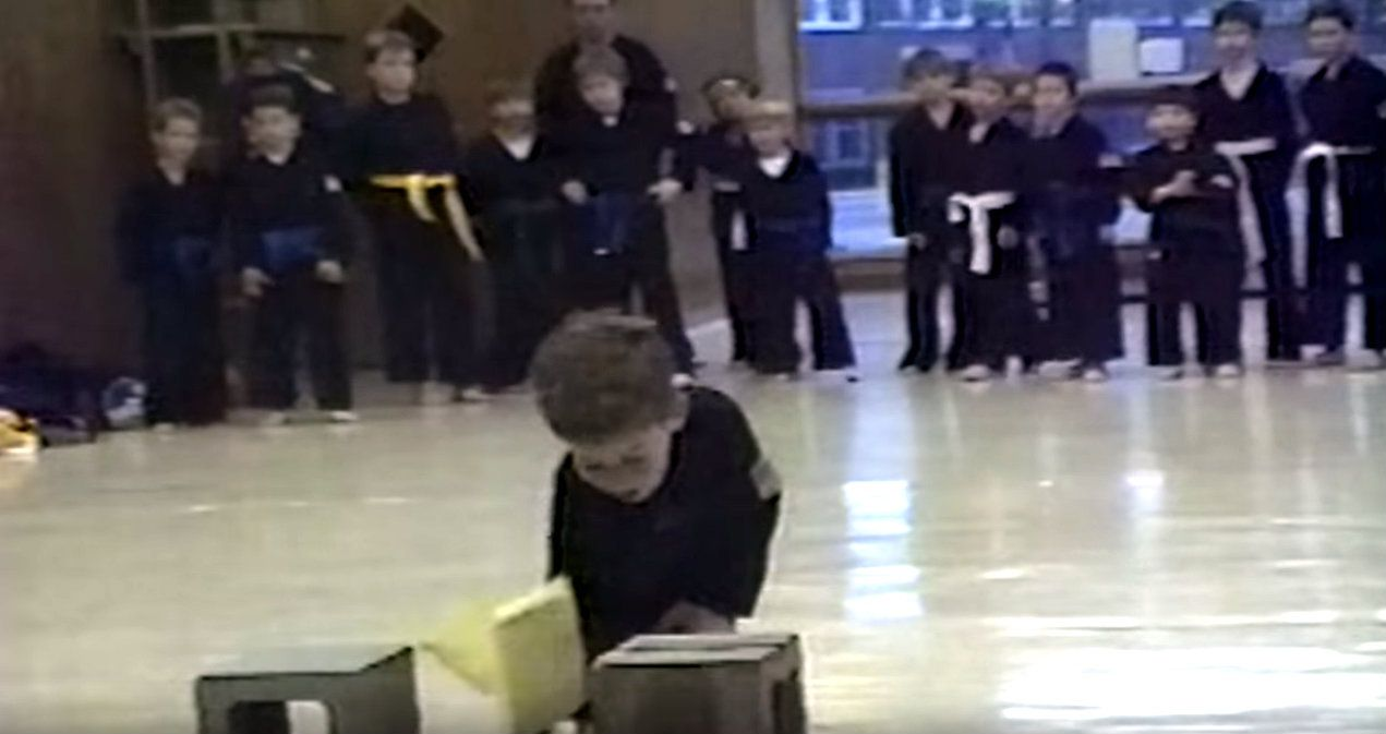 We Are All This Tiny Karate Kid After Breaking Through Our First Board