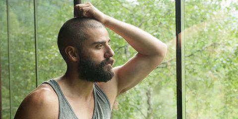Facial hair, Shoulder, Joint, Sleeveless shirt, Chest, Undershirt, Summer, Muscle, Neck, Beard,
