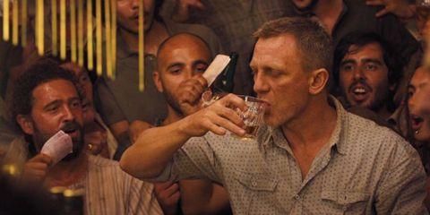 Face, Nose, Eye, Mouth, Facial hair, Alcohol, Barware, Alcoholic beverage, Tableware, Drinking,