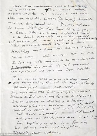 Letter Written by Kurt Cobain Shows He Threatened to Leave Nirvana