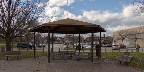 Public space, Gazebo, Bench, City, Shade, Outdoor furniture, Parking, Iron, Street furniture, Pavilion,