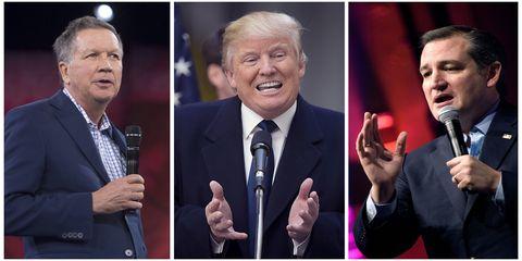 John Kasich, Donald Trump, Ted Cruz