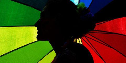 Yellow, Colorfulness, Tints and shades, Black hair, Umbrella, Graphic design, Backlighting, Graphics,