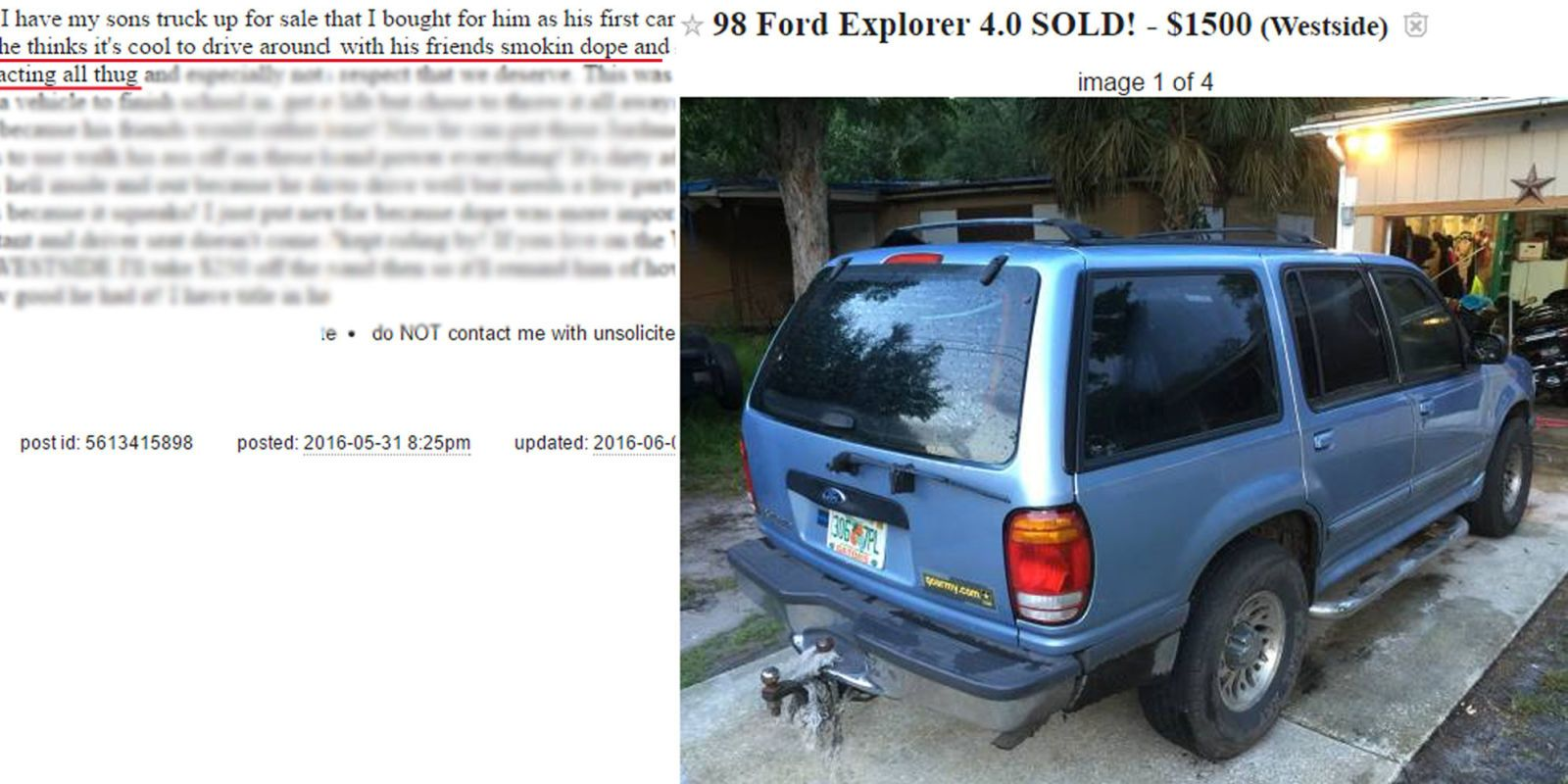 You might not expect the Craigslist sale of a 1998 Ford Explorer to garner  much attention, never mind ending up on local newscasts from Seattle to  Arkansas, ...