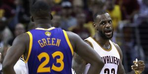 LeBron James yells at Draymond Green on the basketball court