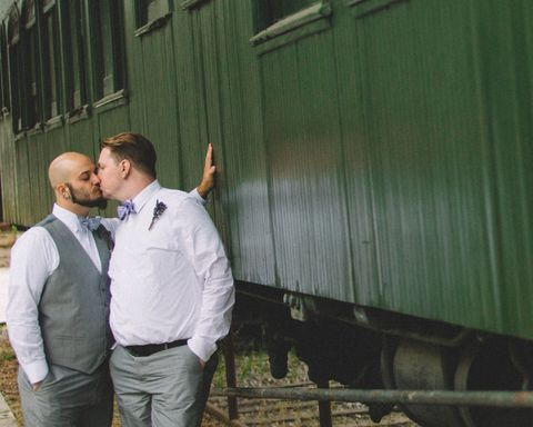 Interaction, People in nature, Rolling stock, Railway, Track, Railroad car, Train, Kiss, Love, Romance,
