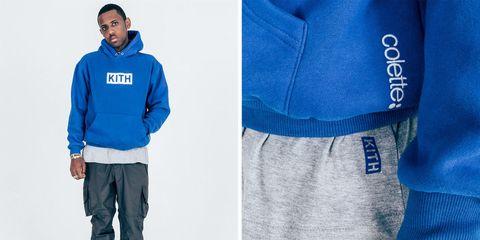 Blue, Sleeve, Textile, Standing, Collar, Electric blue, Jacket, Denim, Cobalt blue, Pocket,
