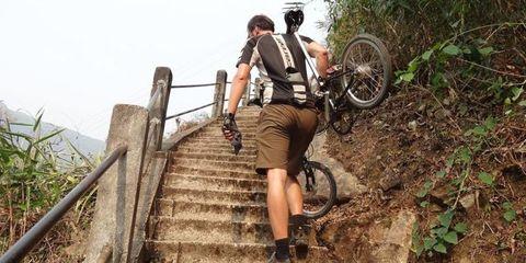 Leg, Stairs, Bicycle tire, Bicycle wheel, Bicycle, Bicycle wheel rim, Bicycle frame, Spoke, Mountain bike, Bicycle handlebar,