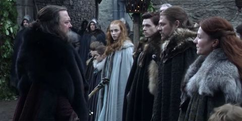 Robert Baratheon greets the Starks upon his arrival at Winterfell
