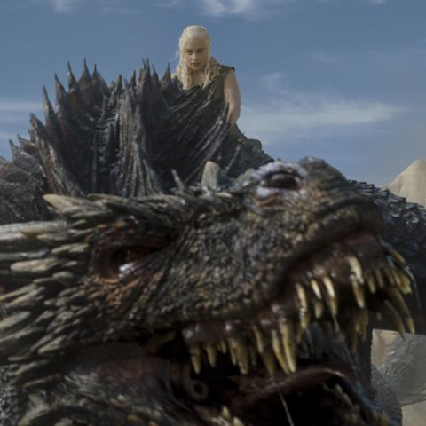 Daenerys Targaryen on a dragon in Game of Thrones