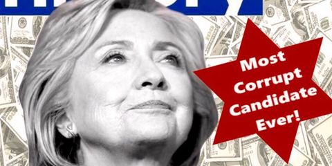"""an image of Hillary Clinton with the words """"most corrupt candidate ever!"""" written on a star of david"""