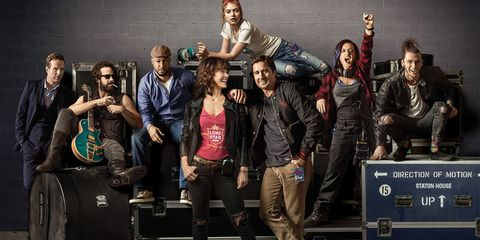 Social group, Jeans, Jacket, Team, Luggage and bags, Crew, Leather, Baggage, Fictional character, Leather jacket,