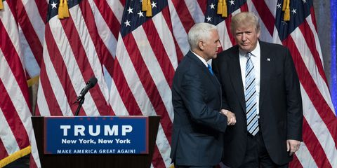 Donald Trump and Mike Pence shake hands