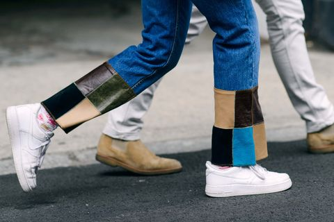 Footwear, Leg, Blue, Human leg, Shoe, Joint, Denim, Street fashion, Fashion, Electric blue,