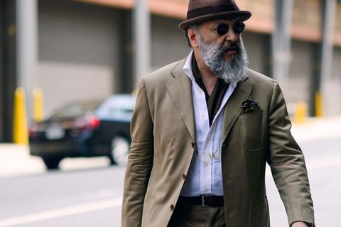 Clothing, Coat, Facial hair, Hat, Dress shirt, Sleeve, Collar, Shirt, Textile, Outerwear,