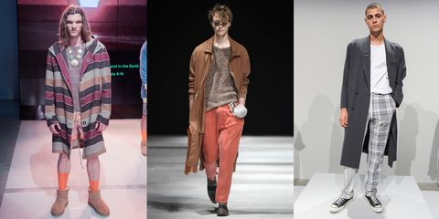 Clothing, Footwear, Leg, Sleeve, Textile, Collar, Outerwear, Style, Fashion show, Pattern,