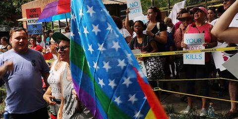 Crowd, Sunglasses, Public event, Flag, Banner, Trunks, Festival, Bermuda shorts,