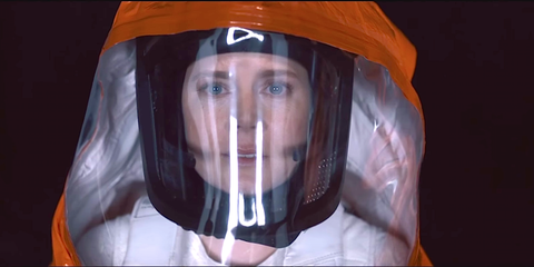 Forehead, Headgear, Personal protective equipment, Orange, Space, Fictional character, Costume, Animation, Hood,