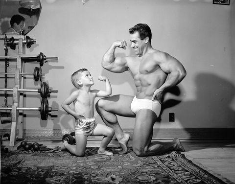 Bodybuilder and son