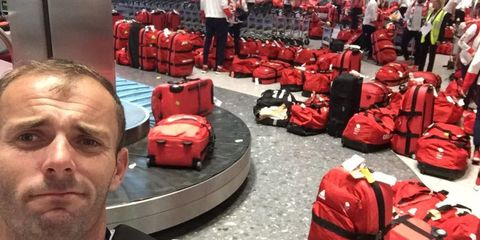 Red, Carmine, Baggage, Luggage and bags, Service, Bumper, Coquelicot, Hand luggage, Selfie, Moustache,