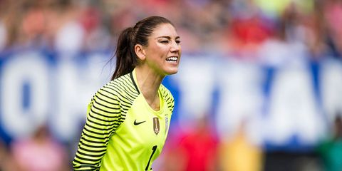 Mouth, Facial expression, Athlete, Brown hair, Championship, Blond, Long hair, Stadium, Fan, Pleased,