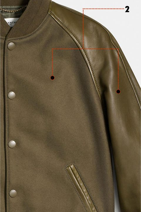"<p>This is what makes or breaks any piece of outerwear—especially a varsity jacket. Opt for cheap synthetics and you'll look&nbsp;more like a JV wannabe. Coach comes correct with&nbsp;glovetanned leather on the sleeves and virgin wool for the body. The contrasting&nbsp;textures add&nbsp;depth to the jacket&nbsp;and&nbsp;will age gracefully with wear.<span class=""redactor-invisible-space"" data-verified=""redactor"" data-redactor-tag=""span"" data-redactor-class=""redactor-invisible-space""></span></p>"