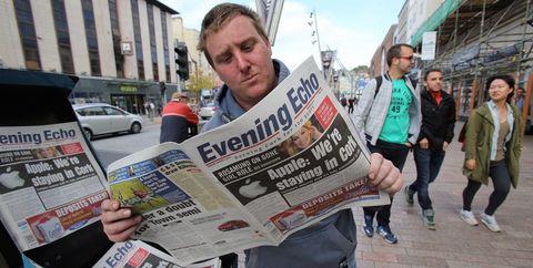 News, Publication, Newsprint, Paper product, Paper, Jacket, Pedestrian, Newspaper, Media, Banner,