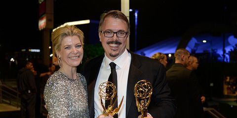 Breaking Bad Executive Producer Michelle MacLaren and Producer/ Creator Vince Gilligan attend the Governors Ball during the 65th Annual Primetime Emmy Awards at Nokia Theatre L.A. Live on September 22, 2013.