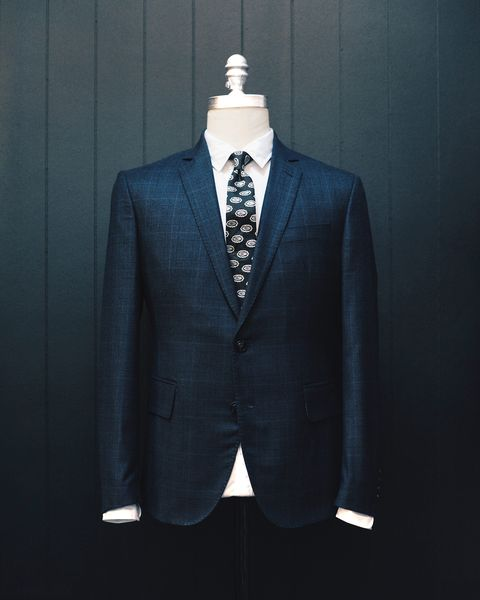 "<p> ""For fall wedding season, I love this nice midnight blue and black plaid suit for how special it feels, without being bold in the least bit,"" says Lewis. In a sea of solids, this pattern will add a bit of texture and life to your look. And since the weather should be nice and crisp, flannel is a perfect choice. ""Flannel cloth has so much character and texture, and feels distinctly fall-appropriate,"" Lewis adds. </p><p><em data-redactor-tag=""em"" data-verified=""redactor"">$1,095, </em><a href=""http://www.brooklyn-tailors.com/collections/mens-suits/products/double-check-plaid-jacket-in-midnight-blue-and-black"" target=""_blank""><em data-redactor-tag=""em"" data-verified=""redactor"">brooklyn-tailors.com</em></a></p>"