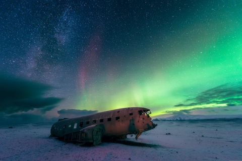 <p>In 1973, a U.S. Navy airplane—a Douglas Super DC-3 to be exact—crash landed on Sólheimasandur Beach in the south of Iceland. The entire crew survived, but the plane was abandoned and left to rot. It's located not too far from the Skógafoss Waterfall, but you need four wheel drive to navigate the unpaved roads if you want to see it.</p>