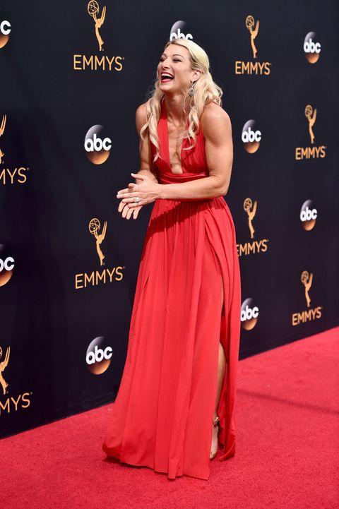 Jessie Graff High Kicks On The Emmys Red Carpet