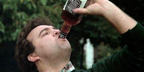 Bottle, Alcohol, Wrist, Drink, Alcoholic beverage, Gesture, Thumb, Communication Device, Drinking, Throat,
