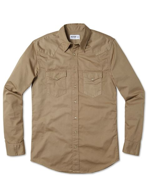 Clothing, Product, Brown, Collar, Sleeve, Shirt, Textile, White, Dress shirt, Khaki,
