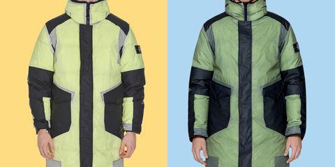 Green, Yellow, Sleeve, Collar, Personal protective equipment, Textile, Fashion, Jacket, Sweatshirt, Workwear,