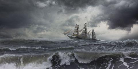 Cloud, Mast, Watercraft, Boat, Sailing ship, Tall ship, Ocean, Liquid, Barquentine, Wave,