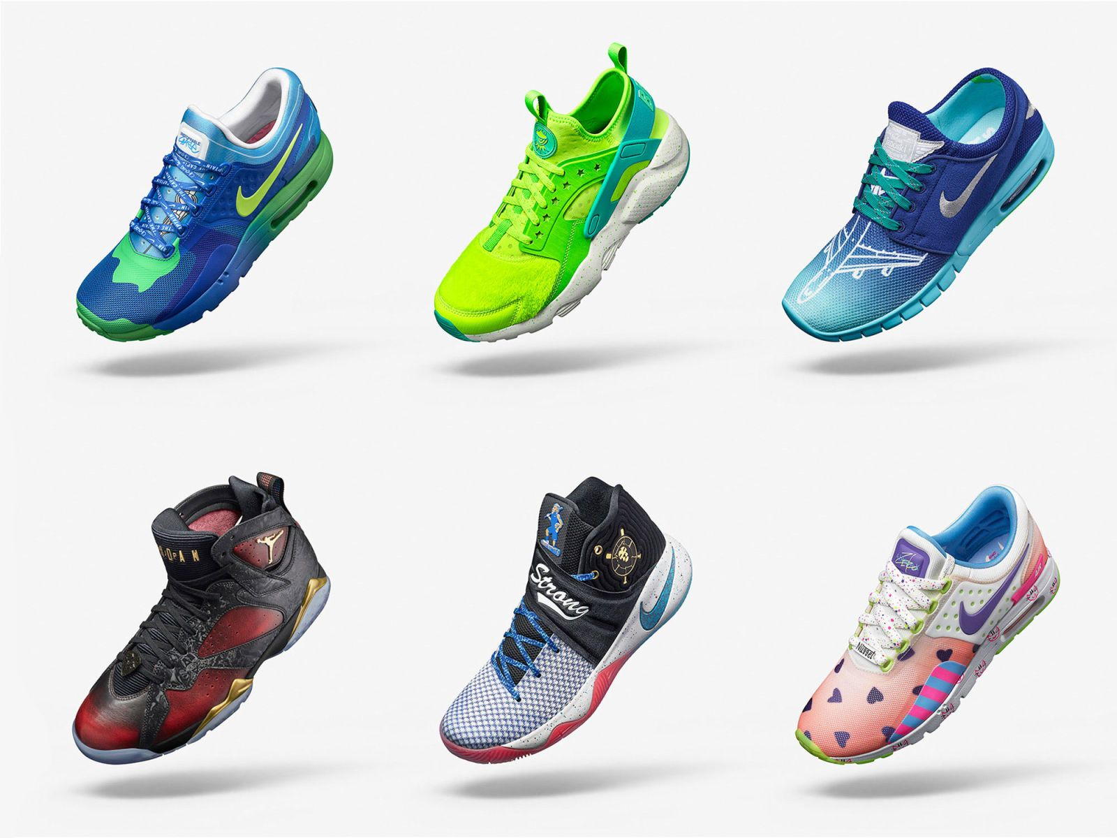 The full lineup of Doernbecher Freestyle Collection sneakers.