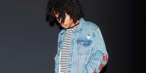 Denim, Collar, Jacket, Style, Black hair, Fashion, Street fashion, Pocket, Jheri curl, Button,