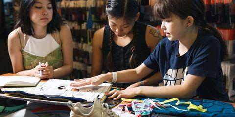 Hair, Face, Arm, Hand, Black hair, Fashion accessory, Sharing, Learning, Shelf, Student,