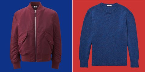 Blue, Sleeve, Collar, Textile, Red, Outerwear, Electric blue, Jacket, Pattern, Fashion,
