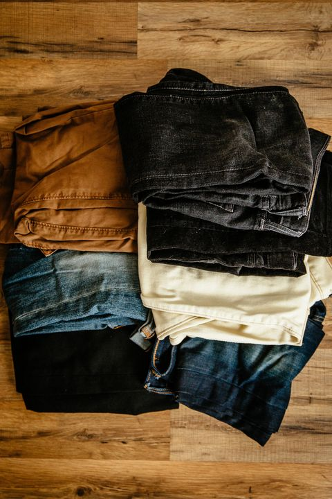"<p>""As a style blogger, it's no surprise that I own a lot of clothes. I've got too much of everything, but there's one thing I have literal piles of that I rarely use: pants. I'm a daily-denim guy, but I keep all of these other pants in the rare case that I may want to actually wear them. But when I put on something other than blue denim, half the time I end up switching back into it. So, keep the ones you actually wear and ditch the rest.""</p>"