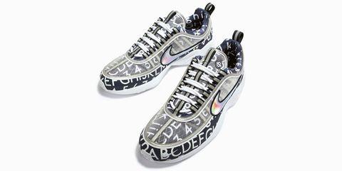 Product, White, Pattern, Athletic shoe, Font, Black, Grey, Walking shoe, Silver, Design,