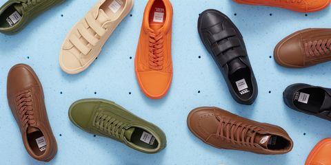 Footwear, Brown, Red, Tan, Orange, Beige, Material property, Dress shoe, Walking shoe, Collection,