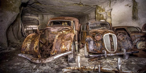 Urban Explorers Discovered a Fleet of Abandoned WWII-Era Cars in France