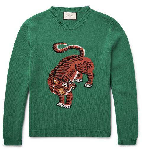 Green, Sleeve, Sweater, Neck, Long-sleeved t-shirt, Pattern, Teal, Terrestrial animal, Creative arts, Active shirt,