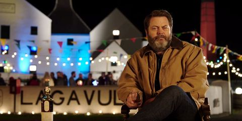 Enjoy This Hour-Long Video of Nick Offerman Drinking Whisky in Scotland