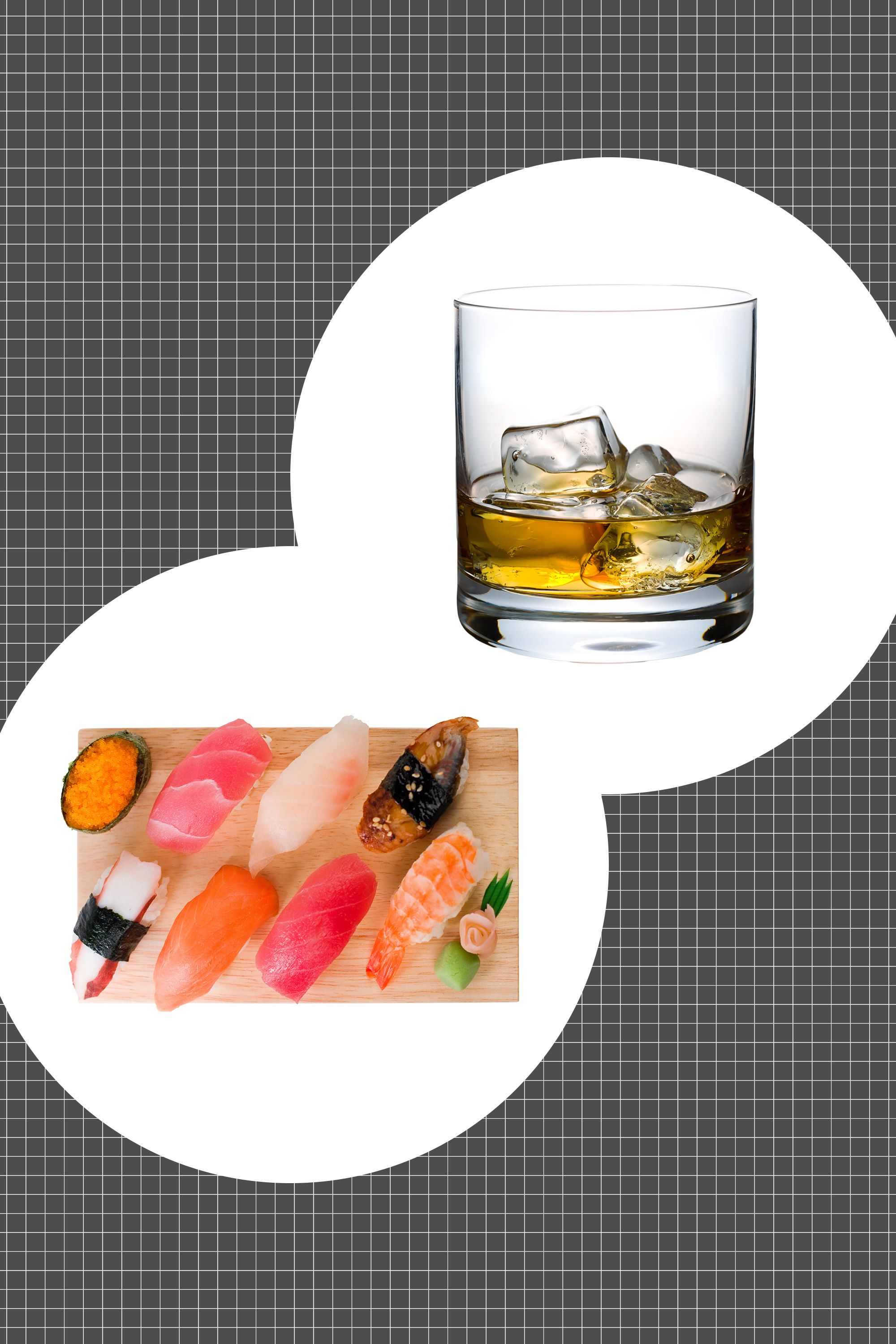 <p>With a bolder edge than its cousin bourbon, rye seems harder to get along with. But that's only if you've never tried cracking open a bottle when your sushi order arrives. The whiskey benefits from the soft unctuousness of raw fish, the heft of rice, and the salinity of the seaweed. </p><p><strong data-redactor-tag=&quot;strong&quot;>How to serve: </strong>On the rocks.</p>